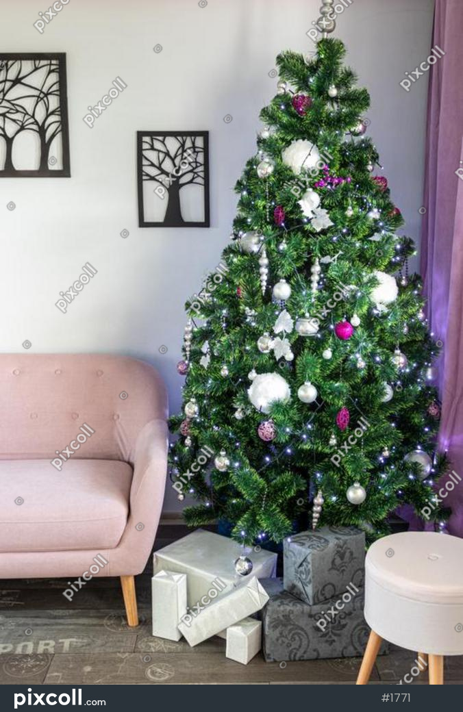 Christmas Tree In Living Room Silver Christmas Gifts Pink Sofa Stock Photo